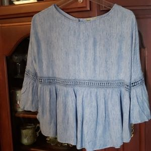 Sassy blue blouse crop size small